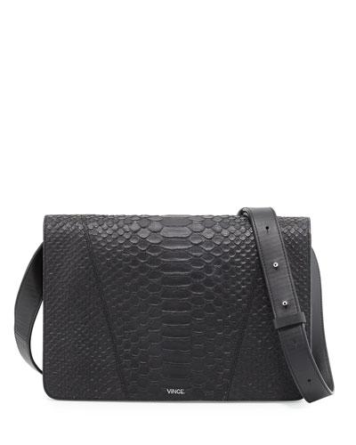 Modern V Medium Python-Embossed Shoulder Bag, Black