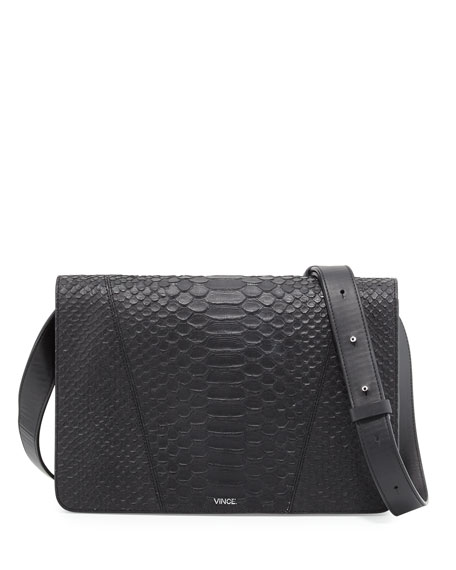 Vince Modern V Medium Python-Embossed Shoulder Bag, Black
