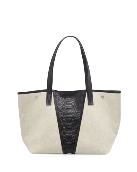Vince Modern V Medium Linen/Python-Embossed Tote Bag, Natural