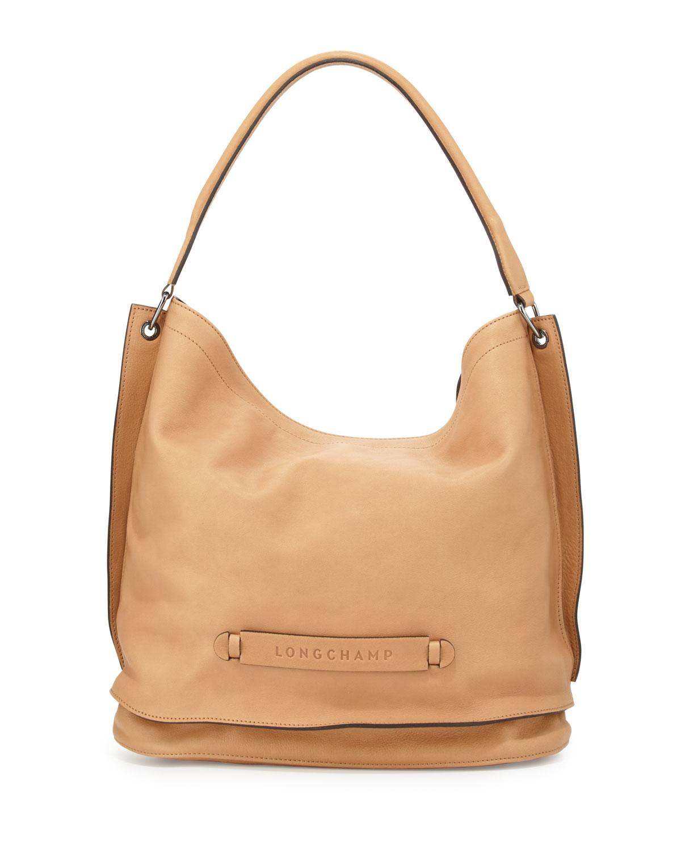 Longchamp Longchamp 3D Leather Hobo Bag, Nude   Neiman Marcus 1de64b0e76