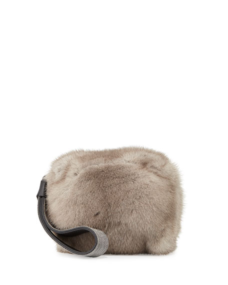 Brunello Cucinelli Monili Mink Fur Cube Wristlet Clutch Bag, Clay