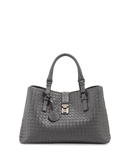 Roma Large Intrecciato Tote Bag, New Light Gray