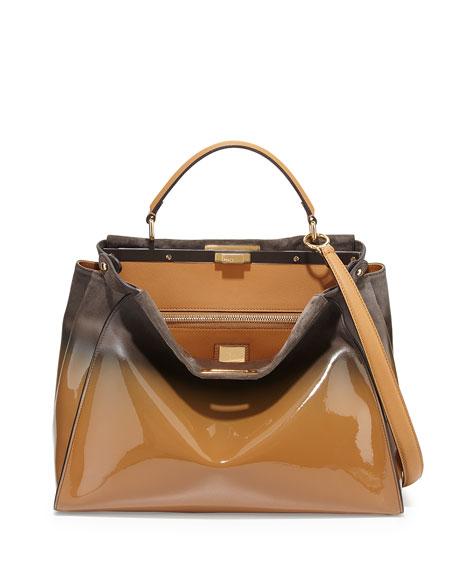 Peekaboo Large Degrade Patent Satchel Bag, Brown