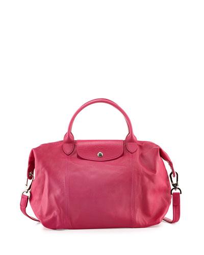 Le Pliage Cuir Handbag with Strap, Cyclamen