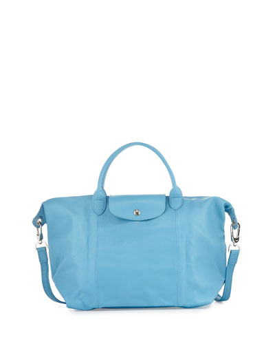 Le Pliage Cuir Handbag with Strap, Cornflower