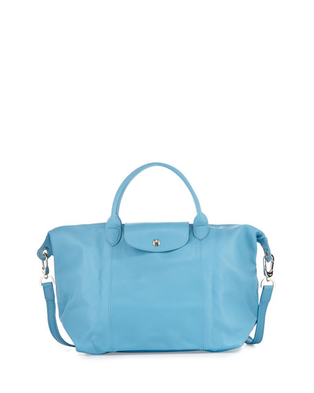 Longchamp Le Pliage Cuir Handbag with Strap, Cornflower