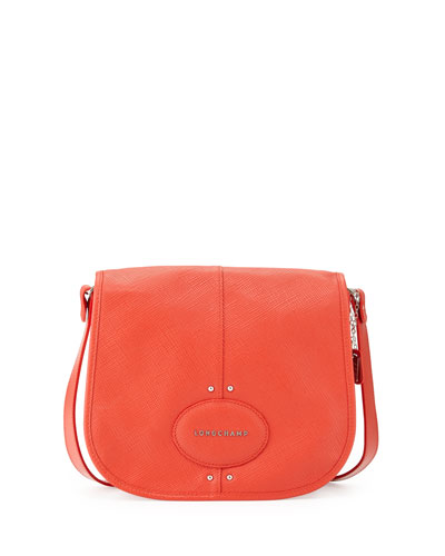 Quadri Crossbody Bag w/Flap, Orange