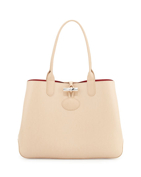 Longchamp Roseau Reversible Leather Tote Bag Sandy Cherry Neiman Marcus