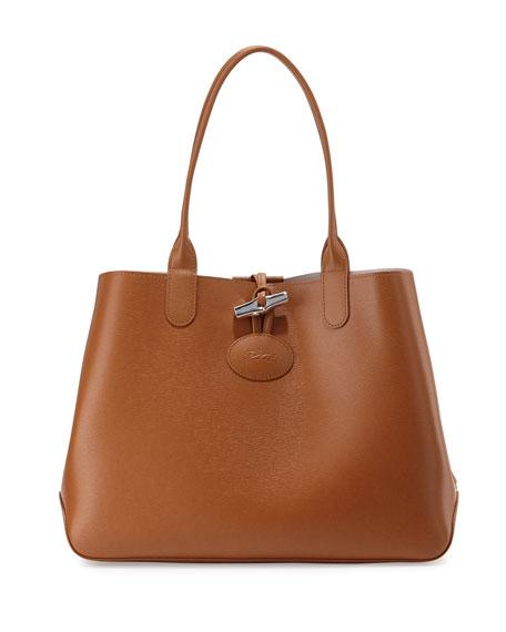Roseau Reversible Leather Shoulder Tote Bag Cognac/Ecru