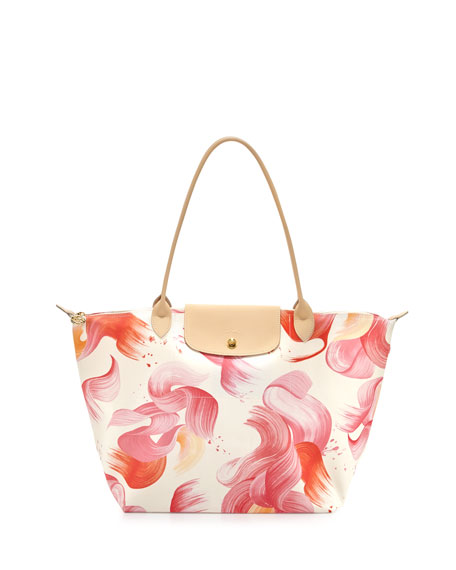 Longchamp Splash Large Shoulder Tote Bag, Coral