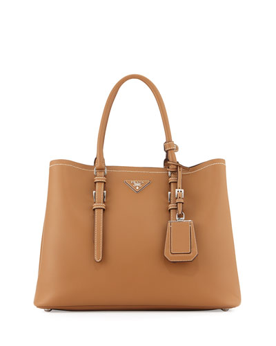 Prada Large Calf Leather Tote Bag, Camel (Canella)