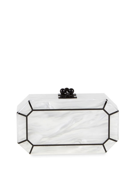 Edie Parker Fiona Faceted Clutch Bag, White/Obsidian