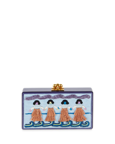 Edie Parker Jean Luau-Panel Clutch Bag, Blue/Violet