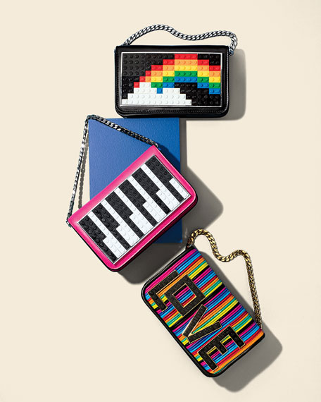 Janis Micro Rainbow Mini Clutch Bag, Black