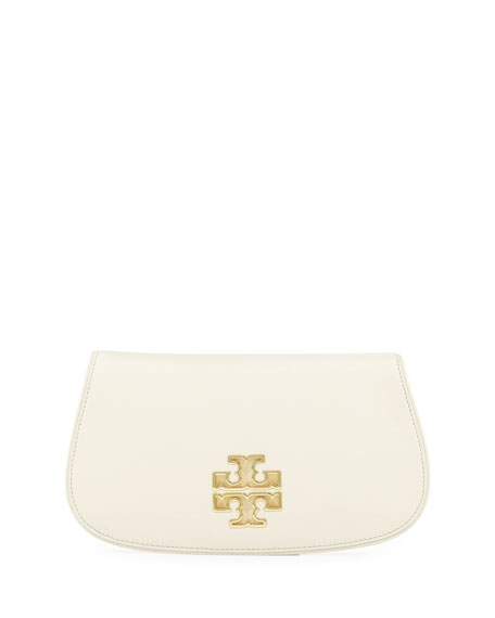 Tory BurchBritten Leather Flap Clutch Bag, New Ivory