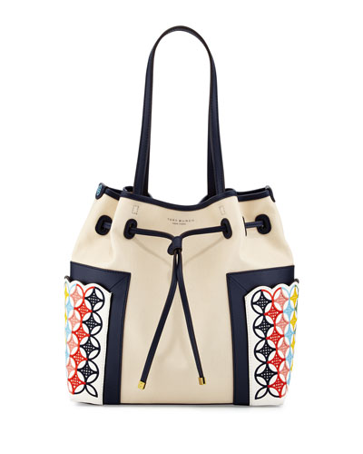 Block-T Embroidered Bucket Bag, Natural