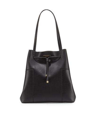 Block-T Leather Bucket Tote Bag, Black