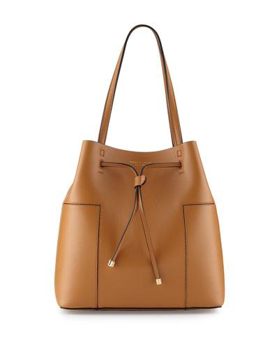 Block-T Leather Bucket Tote Bag, Vachetta