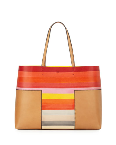 Block-T Degrade Leather Tote Bag, Vachetta Multi