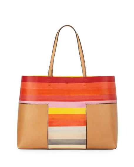Tory Burch Block-T Degrade Leather Tote Bag, Vachetta Multi