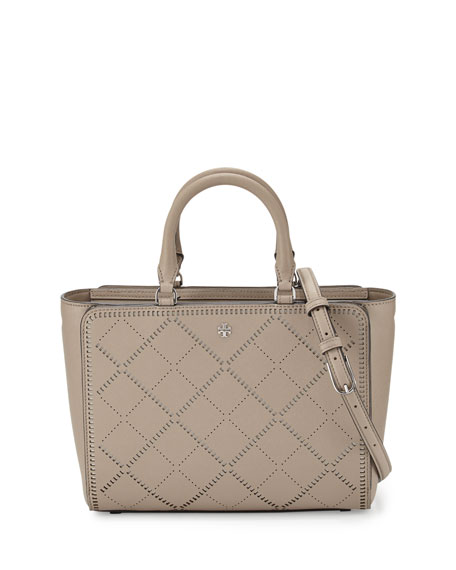 Tory Burch Robinson Small Crosshatch Tote Bag, French Gray/Ivory