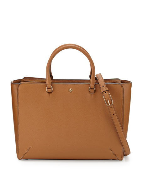 Tory Burch Robinson Large Zip-Top Tote Bag, Tiger's Eye