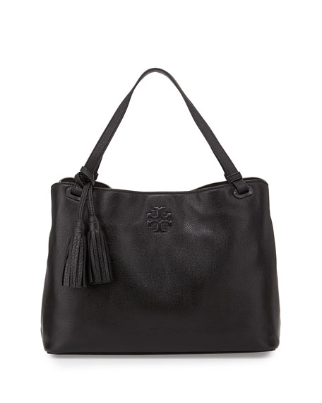 Tory Burch Thea Center-Zip Tote Bag, Black