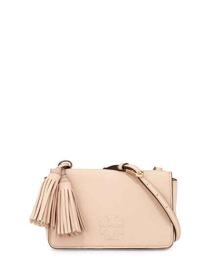 Tory Burch Thea Mini Leather Crossbody Bag, Pale