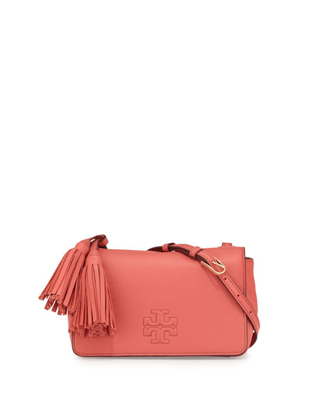Tory Burch Thea Mini Leather Crossbody Bag, Spiced Coral