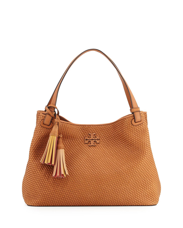 Tory Burch Thea Woven Leather Tote Bag Peanut Neiman Marcus