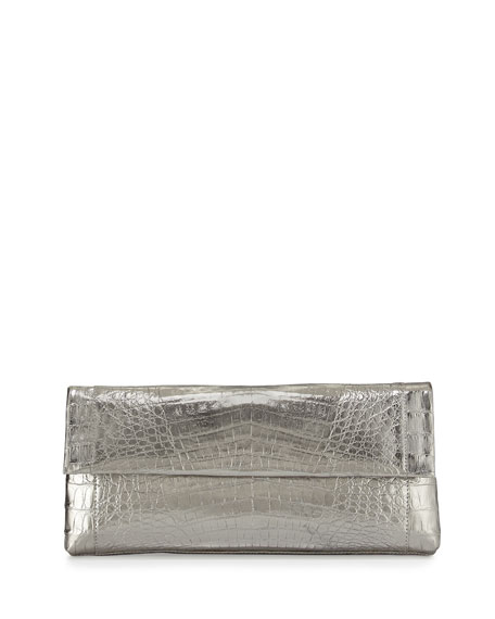 Nancy Gonzalez Gotham Crocodile Flap Clutch Bag, Anthracite
