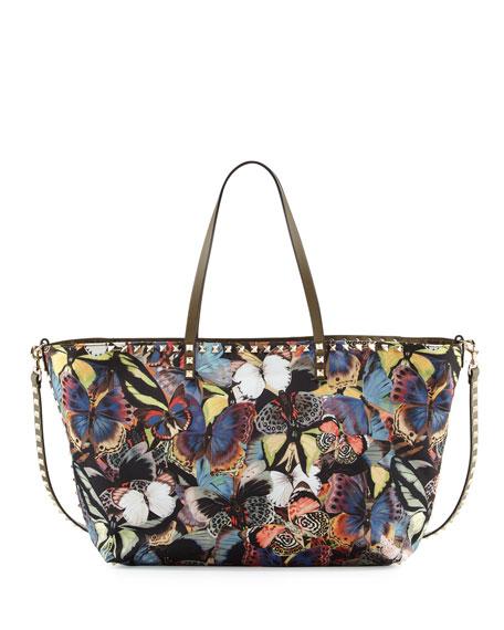 Valentino Camu Butterfly Printed Nylon Tote Bag, Army