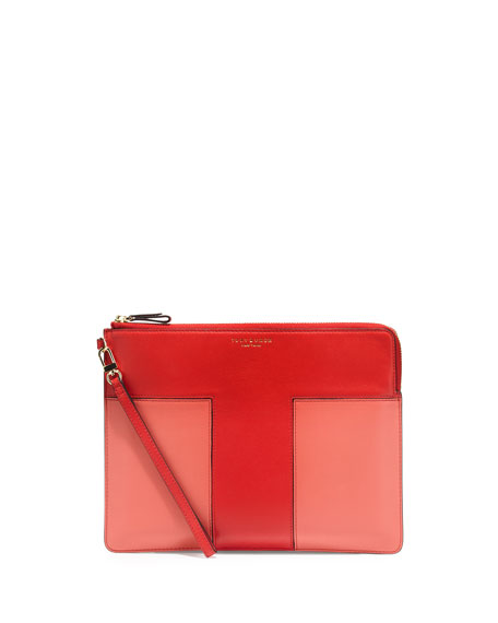 Tory Burch Block-T Large Leather Pouch Bag, Brilliant Red/Spice Coral