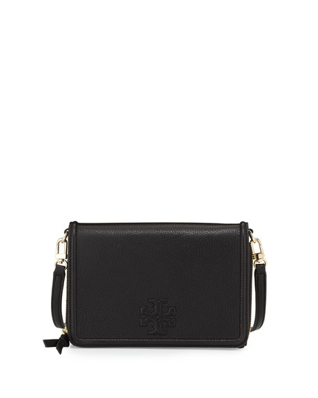 Tory Burch Thea Leather Wallet Crossbody Bag, Black