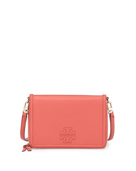 Tory Burch Thea Leather Wallet Crossbody Bag, Spice Coral