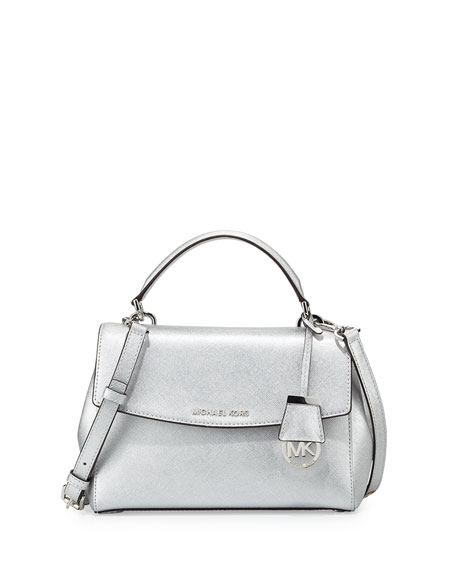 Michael Kors Ava Small Metallic Leather Satchel Bag Silver Neiman Marcus