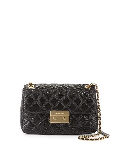 Sloan Large Chain Quilted Shoulder Bag, Black