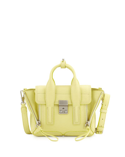 Pashli Mini Shark-Embossed Satchel Bag, Citron