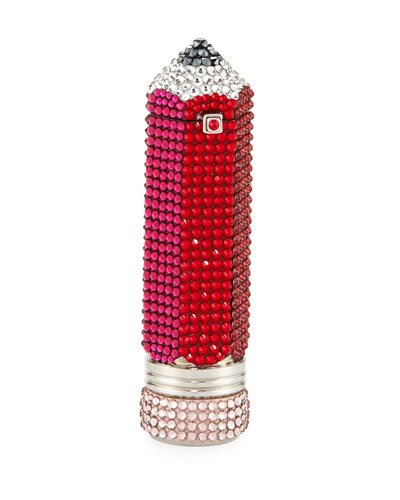 Number 2 Crystal Pencil Pillbox, Ruby Red/Multi