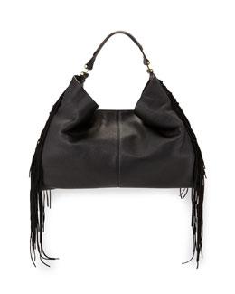 Heavy Laced Oversized Hobo Bag, Black