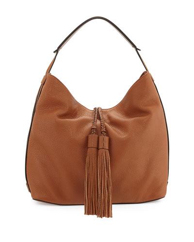 Isobel Leather Hobo Bag, Almond