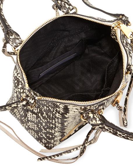 Snake-Embossed Micro Moto Satchel Bag, Creme Multi