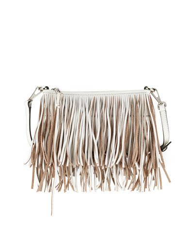 Finn Leather Fringe Crossbody Bag, White