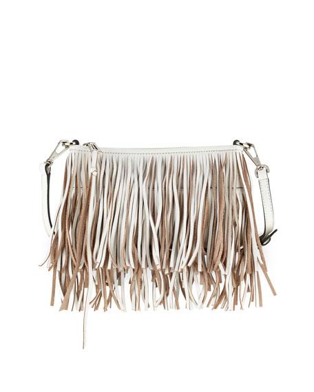 Rebecca Minkoff Finn Leather Fringe Crossbody Bag, White