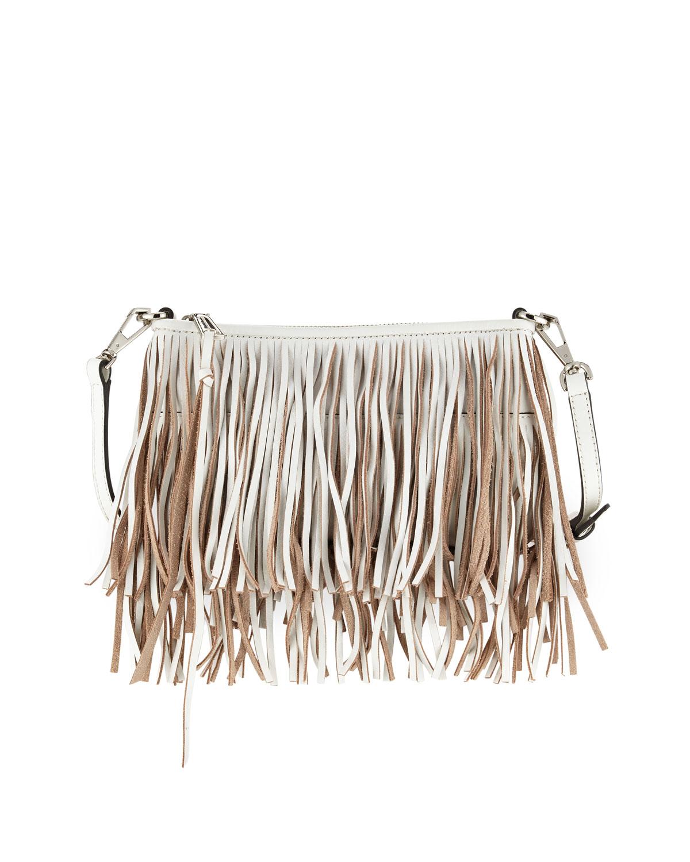 fa7157263 Rebecca Minkoff Finn Leather Fringe Crossbody Bag, White   Neiman Marcus