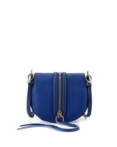 Mara Leather Zip-Trim Saddle Bag, Cobalt