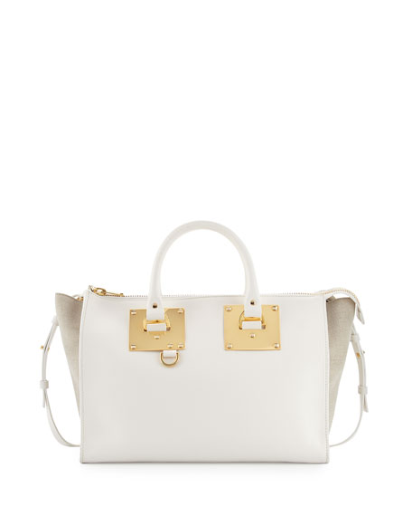 Sophie Hulme Holmes Leather and Canvas Tote Bag, White/Sand