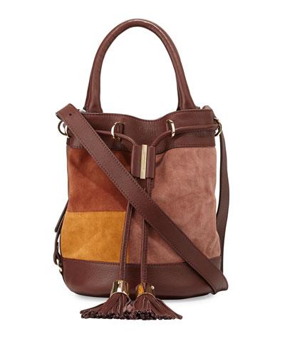Vicki Patchwork Drawstring Bucket Bag, Chocolate/Brown
