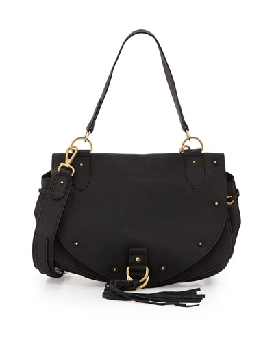 Fringe Leather Shoulder Bag, Black