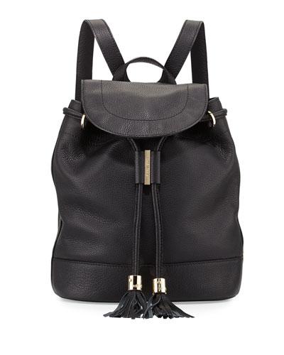 Vicki Leather Backpack, Black<br>